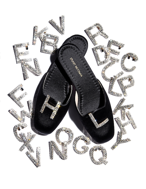 Black satin muletown, $398 and the crystal letter clips are $125 each