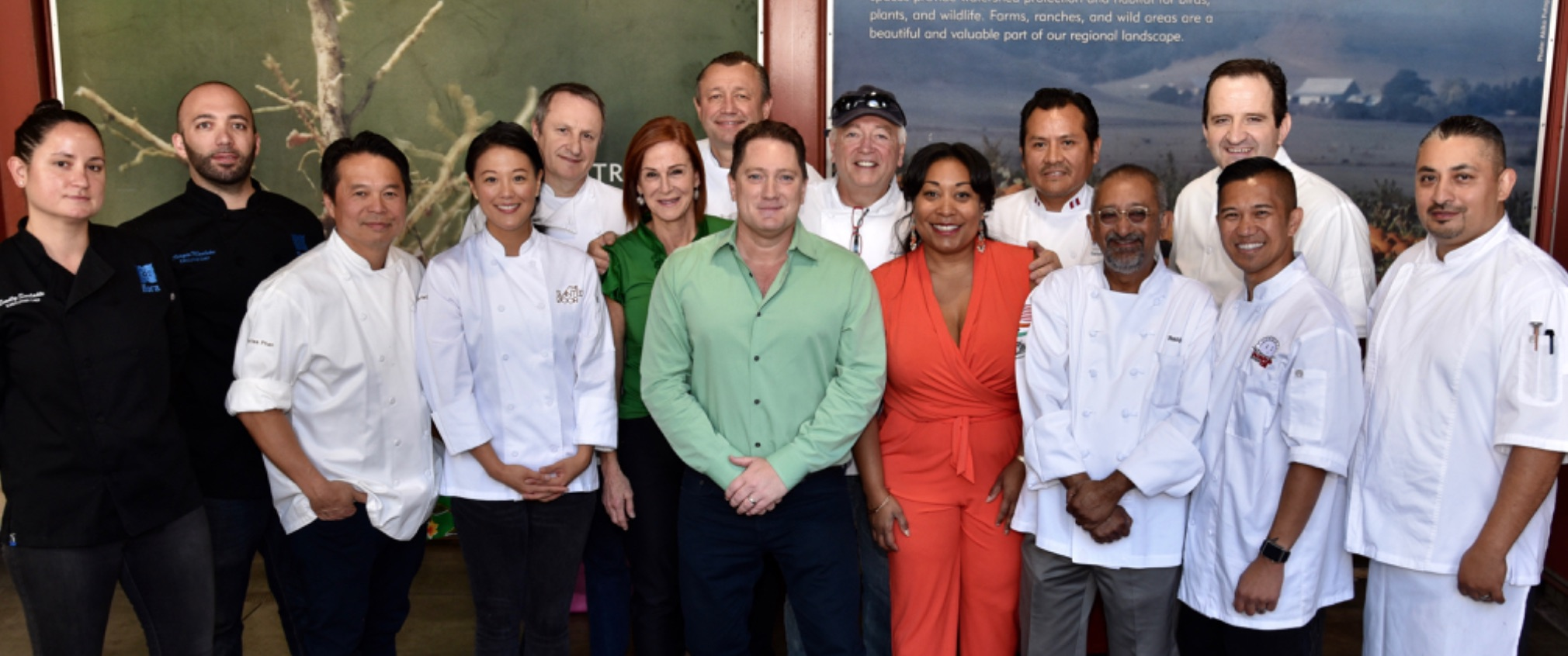 Liam Mayclem, center in green shirt, is surrounded by chefs and members of the Golden Gate Restaurant Association