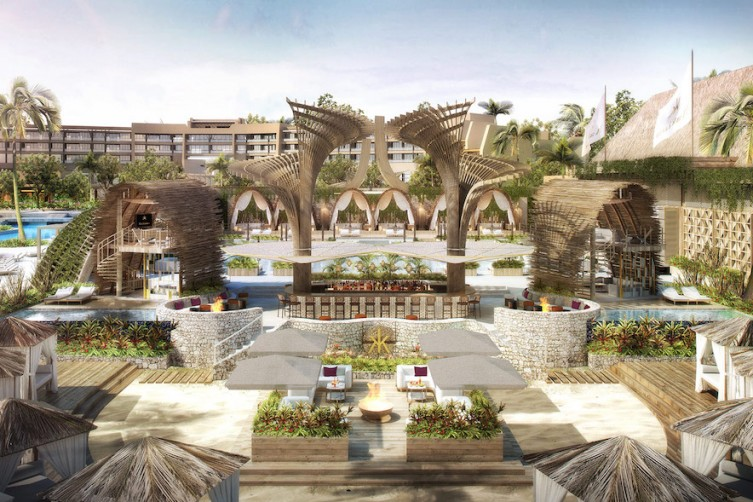 Rendering of Hakkasan Beach Club at Vidanta Los Cabos.