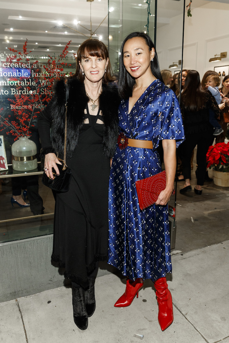 Allison Speer and Carolyn Chang at the Birdies store opening on December 7th