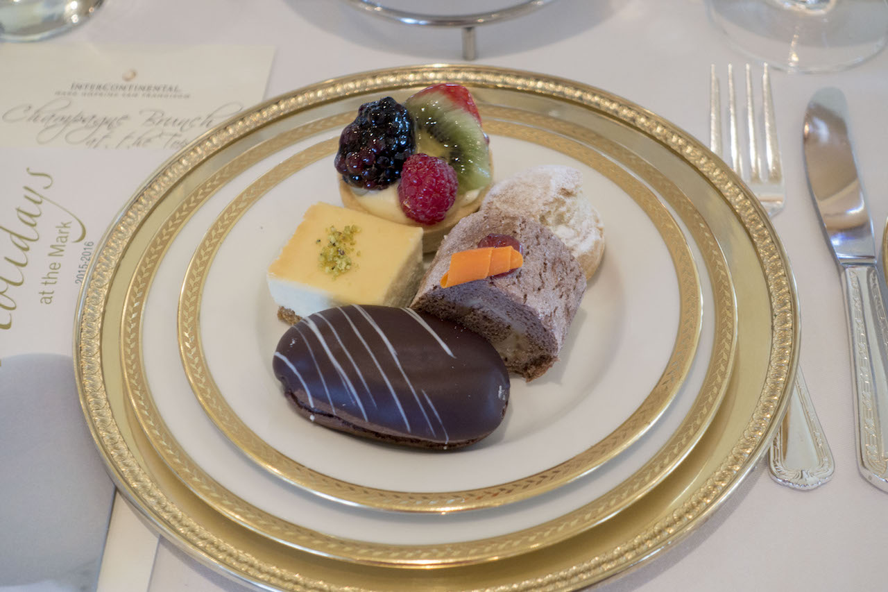 An assortment of pastries at the Top of the Mark's holiday tea
