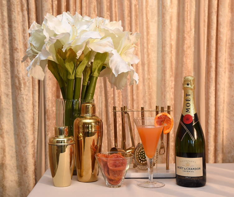 The signature cocktail for the 2018 Golden Globes, The Moet 75, on display at the 75th Golden Globe Awards Show Menu Unveiling at The Beverly Hilton Hotel