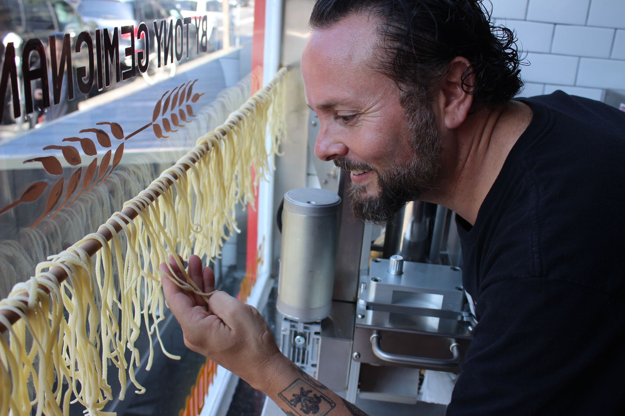 Gemignani checks on the drying pasta