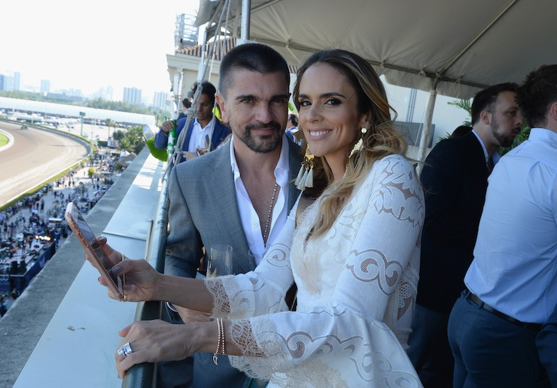 Juanes and Karen Martinez attend The Inaugural $12 Million Pegasus World Cup Invitational