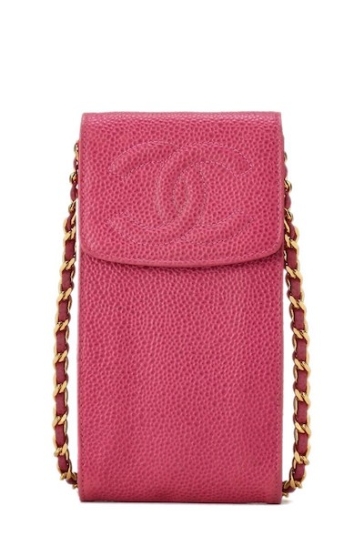 Pink Caviar Timeless Classic Smartphone Holder by Chanel, www.shopspring.com