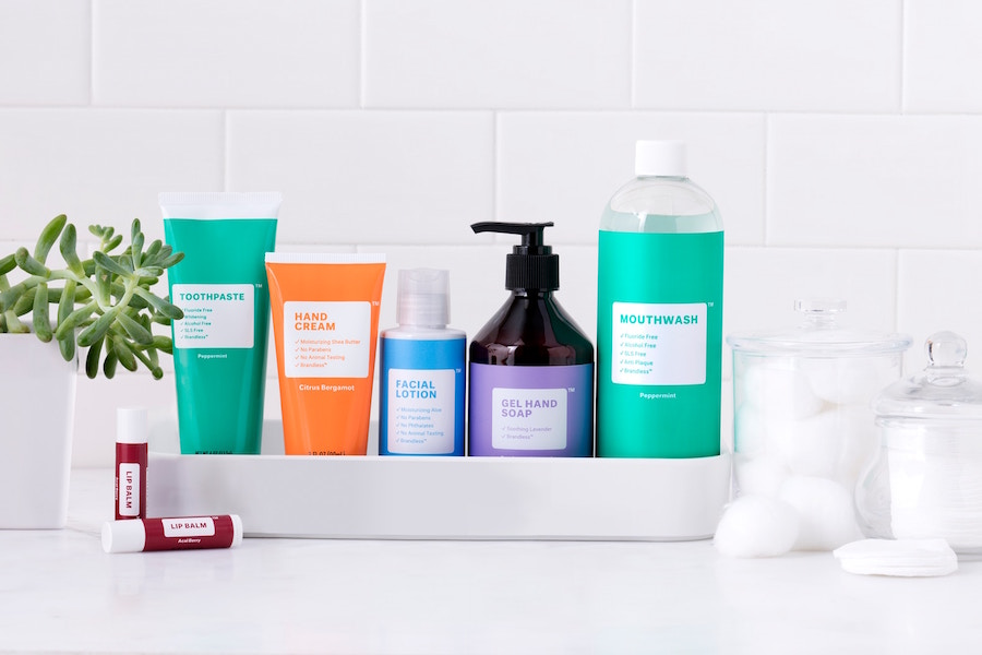 An assortment of Brandless beauty products
