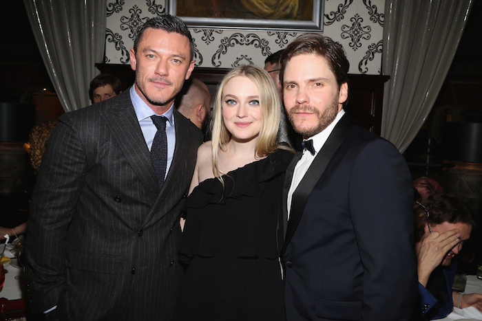 "Luke Evans, Dakota Fanning, Daniel Bruhl at the New York Premiere after party for TNT's ""The Alienist"" at Delmonico's, NYC"