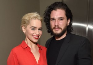 Emilia Clarke (L) and Kit Harington attend the 7th Annual Sean Penn & Friends HAITI RISING Gala