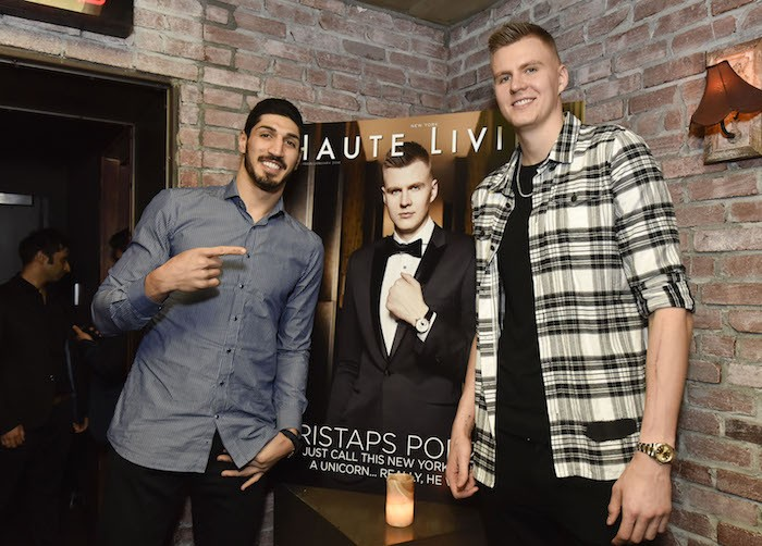 Teammates Enes Kanter and Kristaps Porzingis