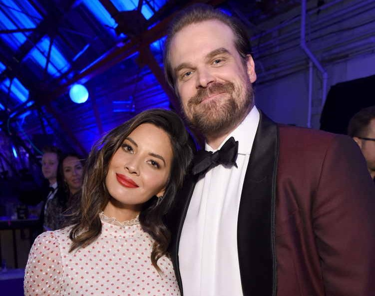Host Olivia Munn (L) and actor David Harbour (R)