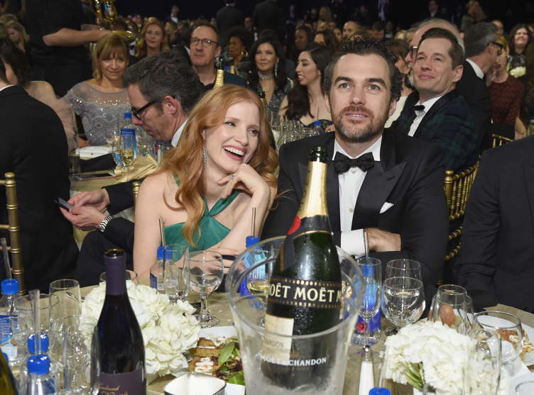 Jessica Chastain (L) and husband Gian Luca Passi de Preposulo