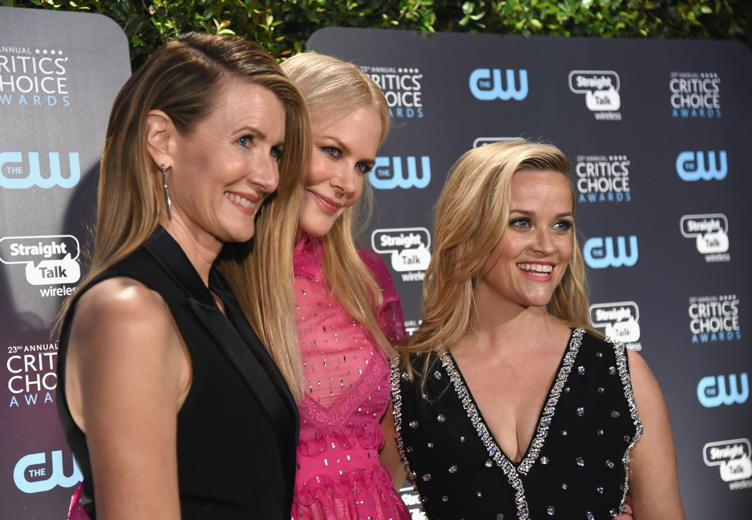 (L-R) Actor Laura Dern, actor-producer Nicole Kidman, and producer-actor Reese Witherspoon attend The 23rd Annual Critics' Choice Awards