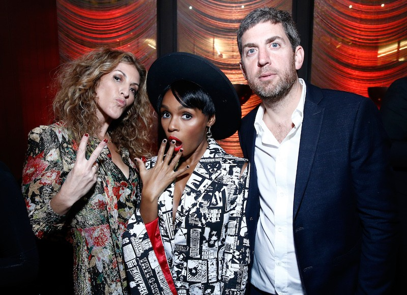 (L-R) Chairman & COO Atlantic Records Group Julie Greenwald, Janelle Monae, and CEO, Recorded Music for Warner Music Group Max Lousada attend the Warner Music Group Pre-Grammy Party in association with V Magazine.