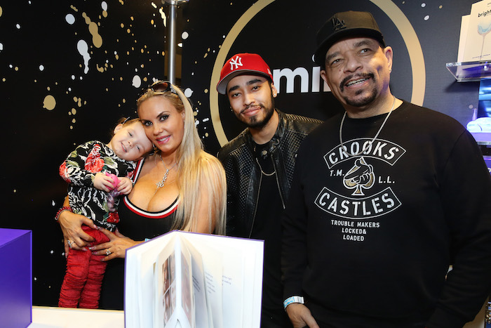 Actor/model Coco Austin, musicians Tracy Marrow Jr. and Ice-T of musical group Body Count attend the GRAMMY Gift Lounge during the 60th Annual GRAMMY Awards at Madison Square Garden on January 27, 2018 in New York City.