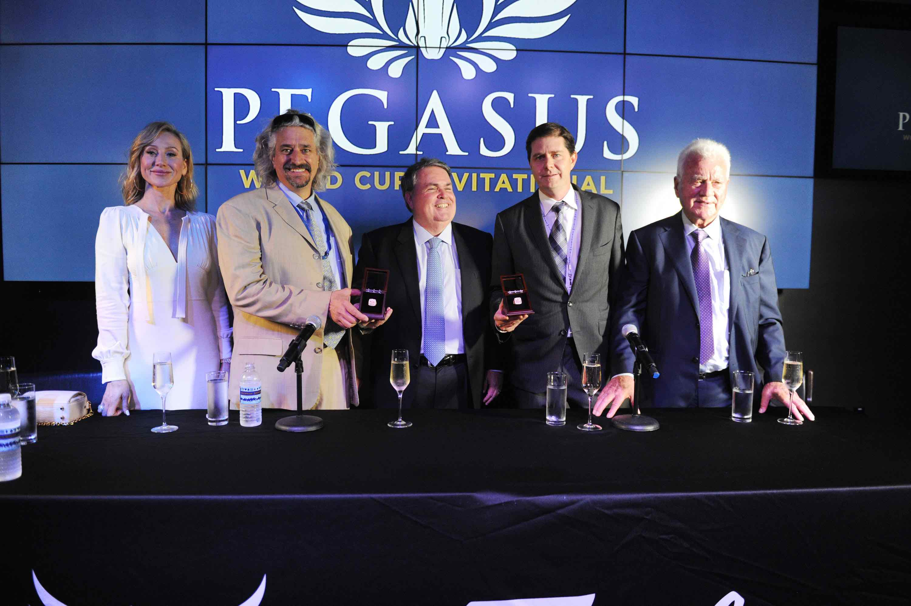 Belinda Stronach, Steve Asmussen, Goncalo Borges Torrealba, Ron Winchell & Frank Stronach at the $16 Million Pegasus World Cup Invitational - Photo Credit World Red Eye
