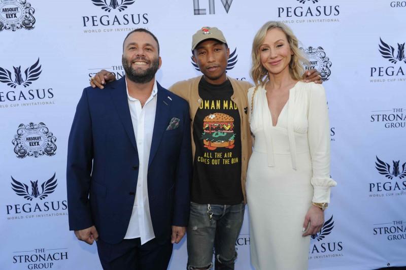 David Grutman, Pharrell Williams, & Belinda Stronach at the $16 Million Pegasus World Cup Invitational - Photo Credit World Red Eye