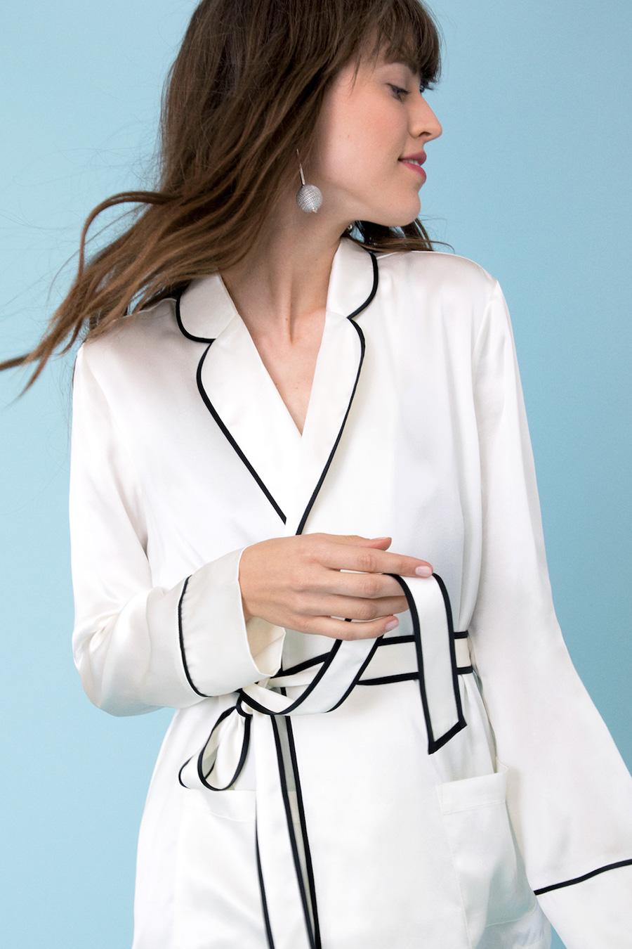 Frances Austen's white pajama jacket with black detailing