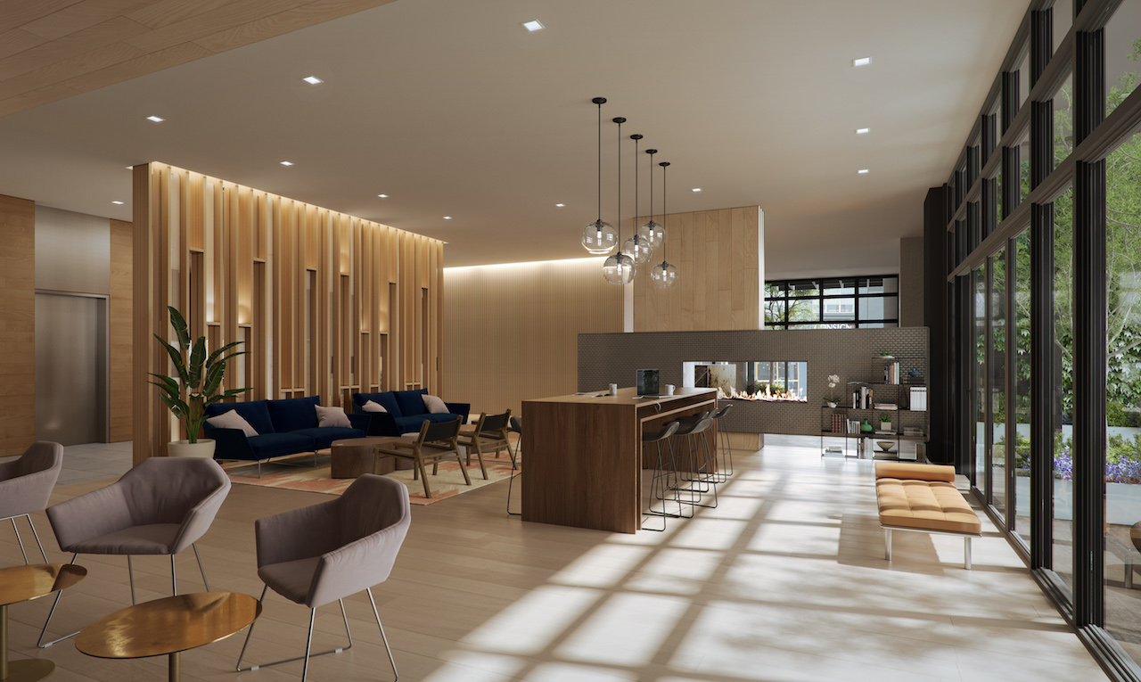 The communal lounge in the lobby