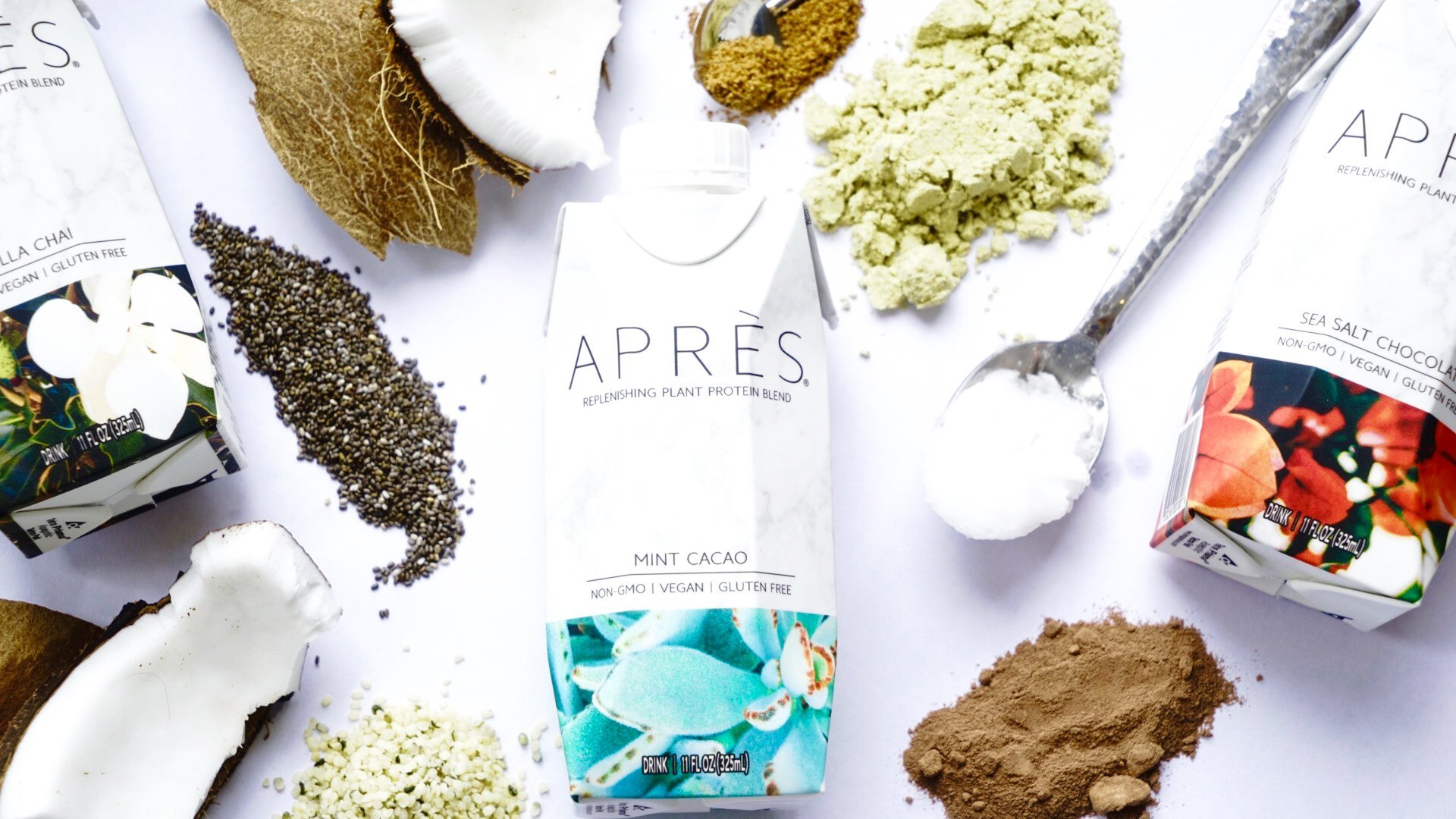 With pretty packaging, organic ingredients, and scrumptious flavors (mint cacao, sea salt chocolate, and chai spiced vanilla), Après will change the way you think about protein shakes