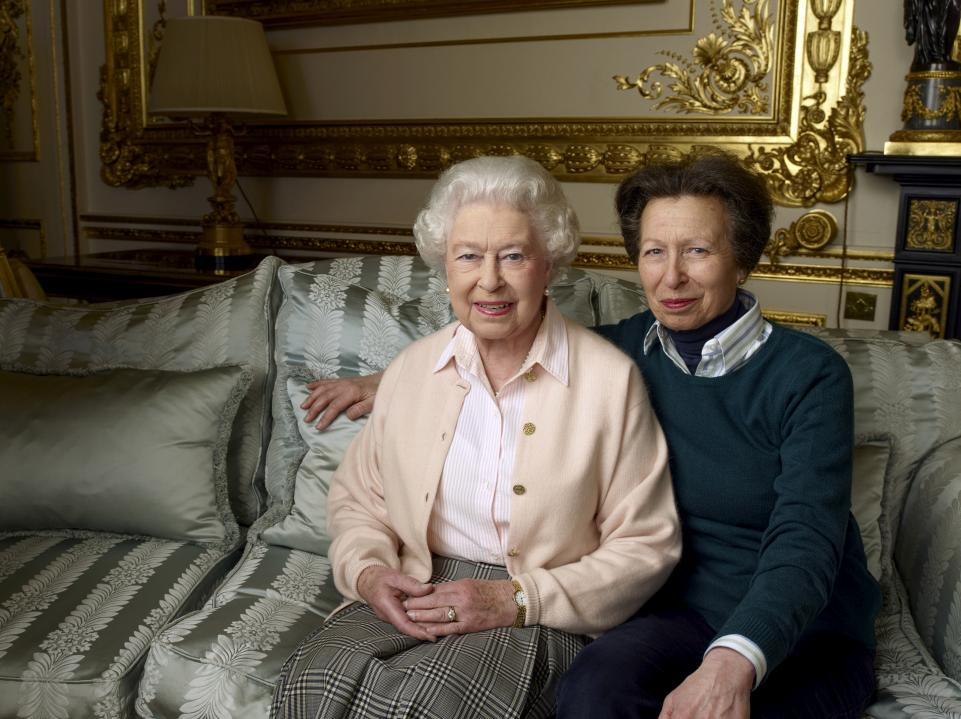 The Queen and her daughter, Anne, the Princess Royal, in the White Drawing Room at Windsor in April 2016