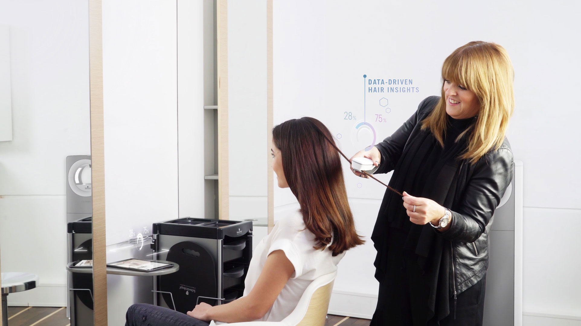 A hairstylist uses the SalonLab analyzer on a client's hair