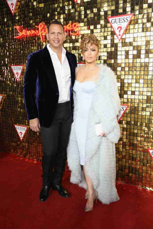 Alex Rodriguez and Jennifer Lopez at the Guess Spring 2018 Campaign Reveal