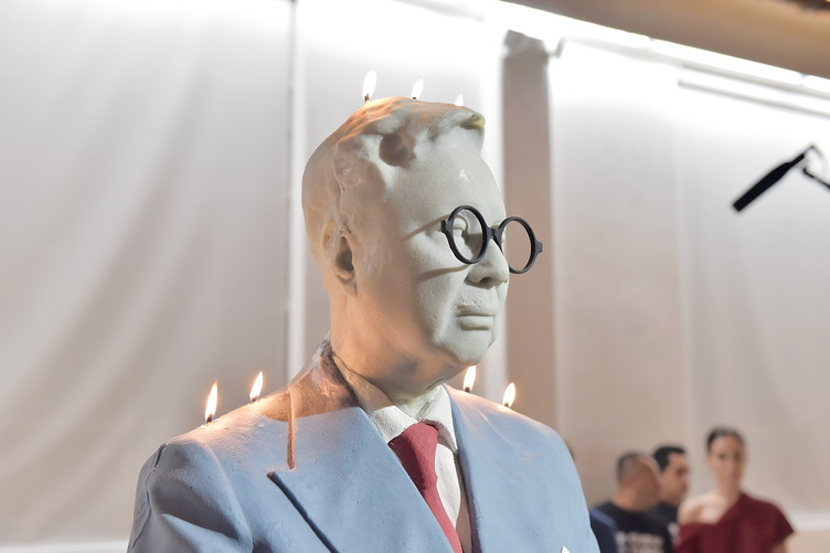 A bust of Michael Chow on display at his anniversary party