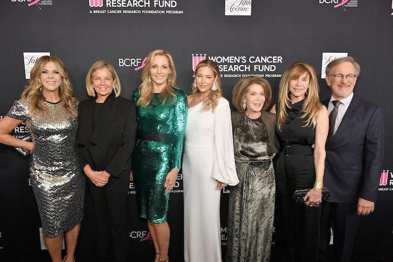 "(L-R) Honorary chair Rita Wilson, WCRF Co-Founders Kelly Chapman Meyer, Jamie Tisch, Quinn Ezralow and Marion Laurie, Kate Capshaw and Steven Spielberg attend WCRF's ""An Unforgettable Evening"" Presented by Saks Fifth Avenue"