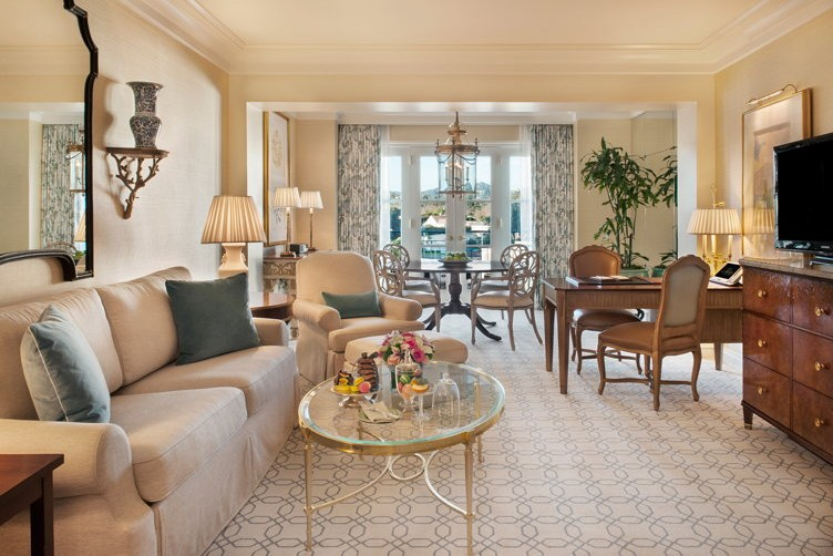 Deluxe Suite Living Room at the Peninsula Beverly Hills