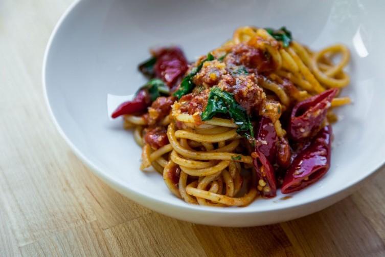 A spaghetti dish at Pasta Aremllino