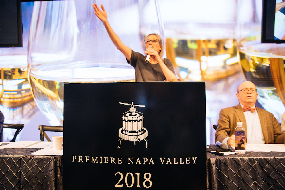 Auctioneer Ursula Hermacinsk takes a higher bidder at 2018 Premiere Napa Valley