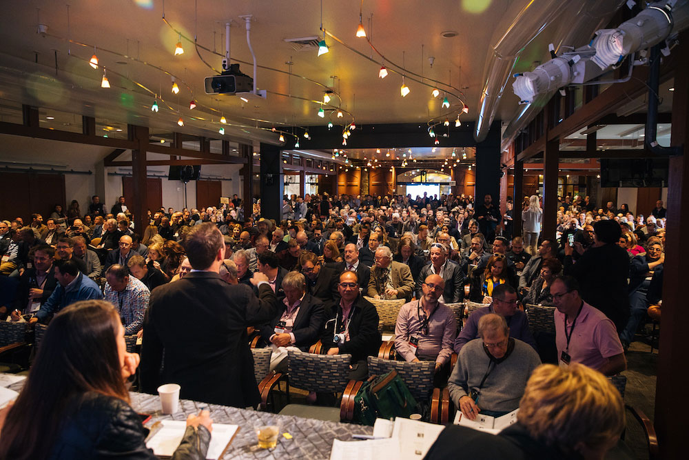 The packed room at the auction