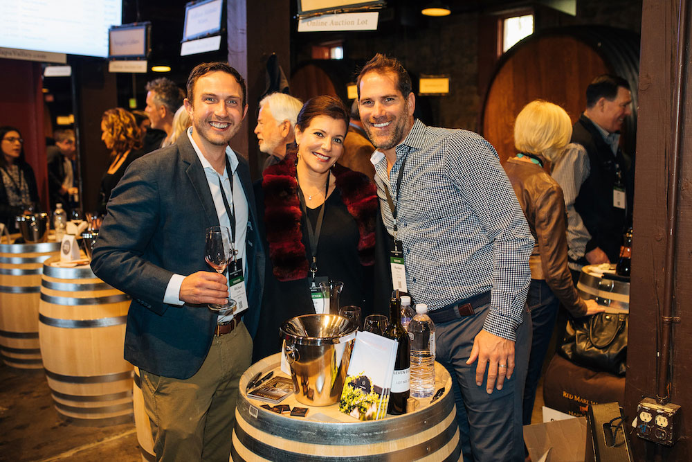 Ellie Anest and Aurelien Roulin of Eleven Eleven at the barrel tasting that preceded the auction