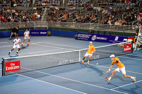 The Bryan Brothers (foreground) playing Leander Paes (India) and Jeremy Chardy (France)