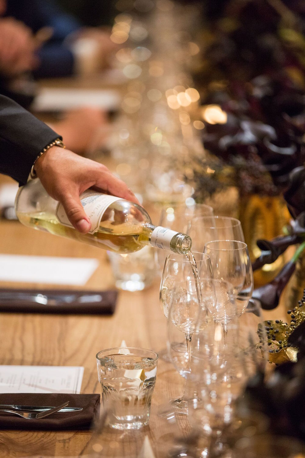 Château Margaux's white wine being poured at the dinner