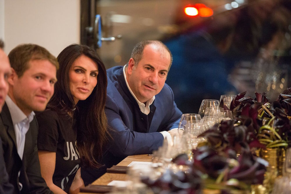 Host Todd Zabelle, right, sits next to his wife, Lisa, and Aurélien Valance