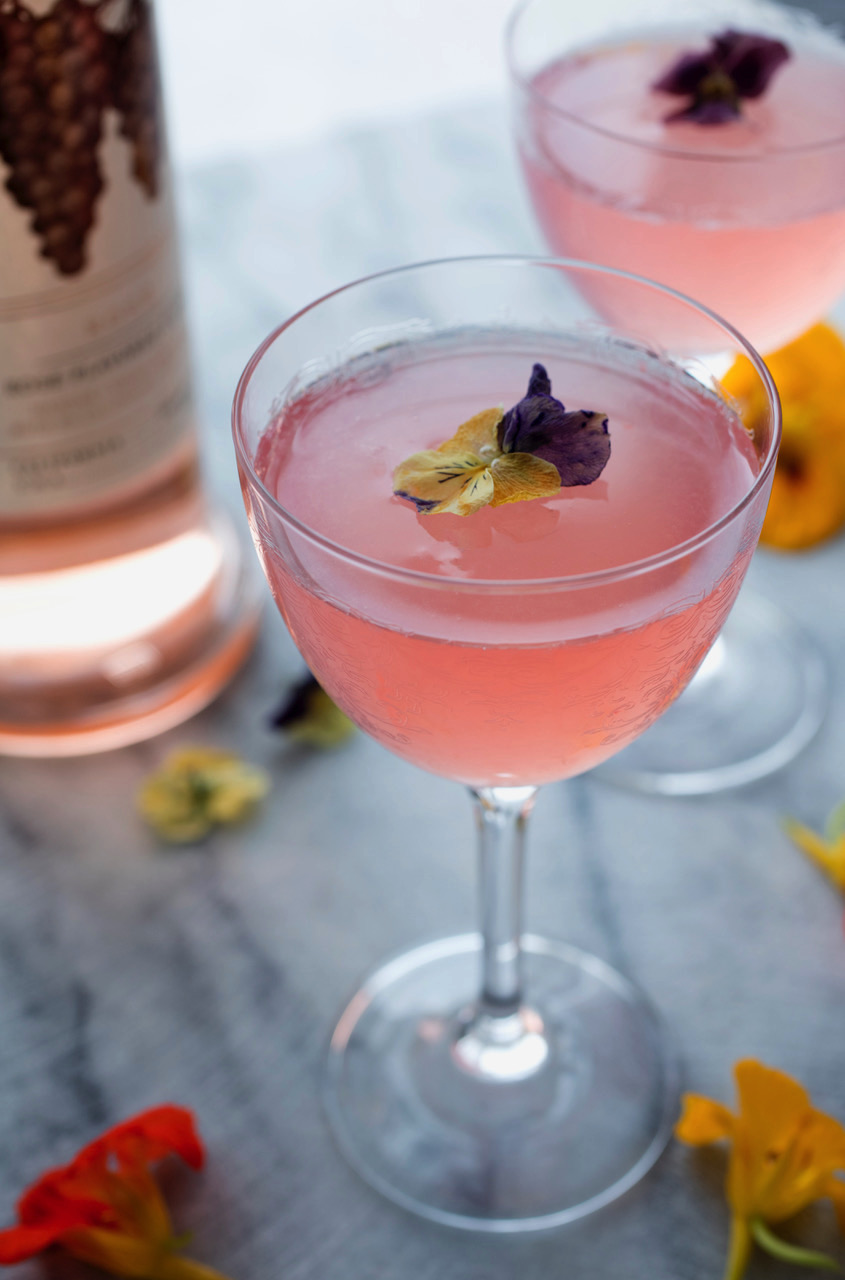 A cocktail made with Rosé Vodka