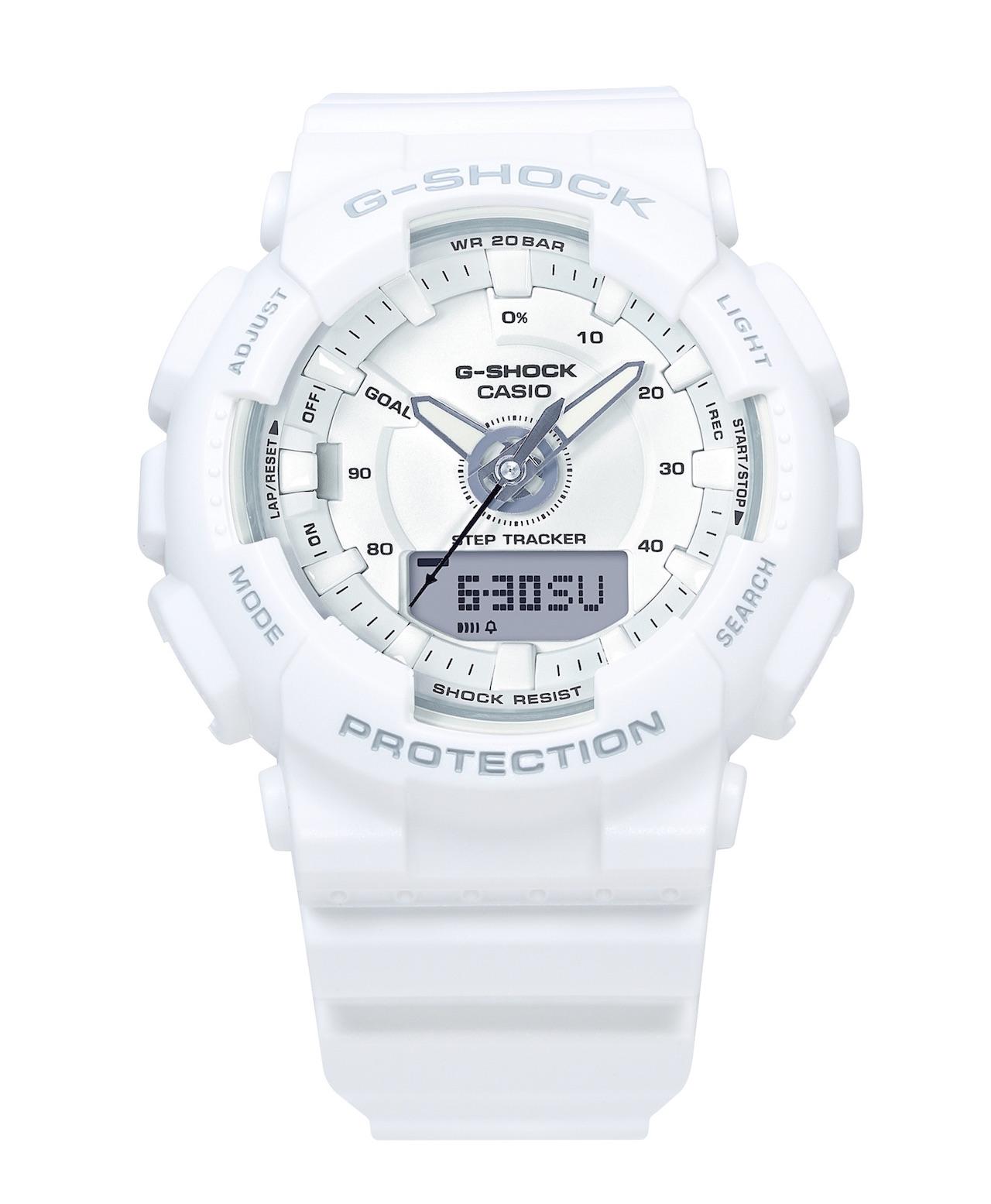 The watch has a digital step tracker