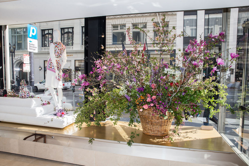 A stunning arrangement Miller created for Ferragamo's window display