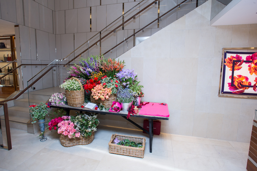 Miller's pop-up flower shop at Ferragamo