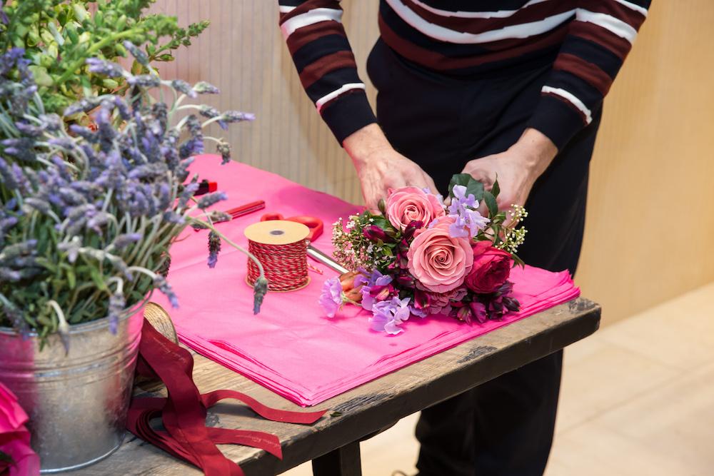 Miller wraps a bouquet