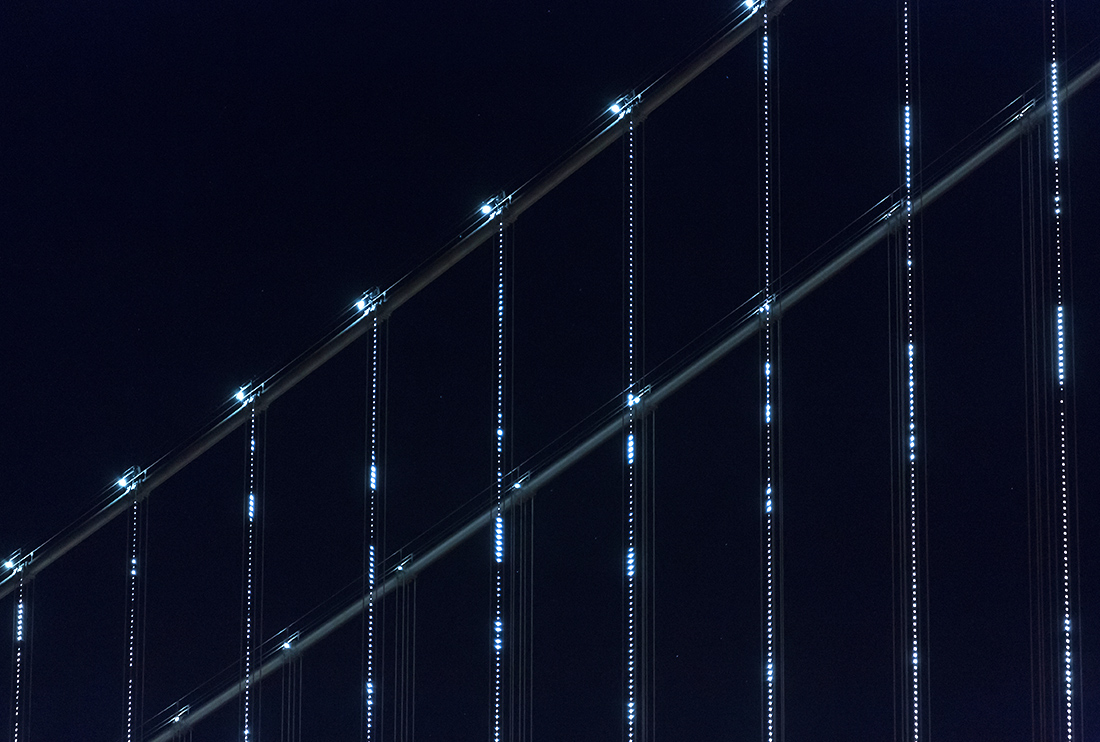 An up close view of the lights