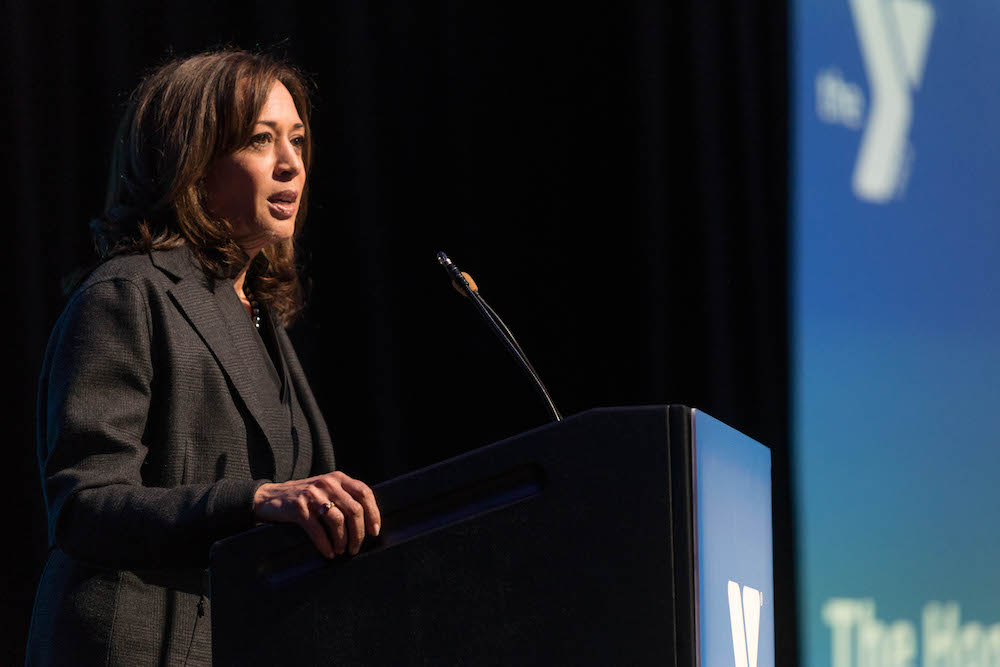 Kamala Harris during her speech