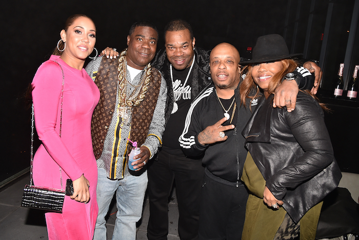 """Megan Wollover, Tracy Morgan, Busta Rhymes, & Spliff Star at the after party for """"The Last O.G."""" at Westlight, Brooklyn, NY"""