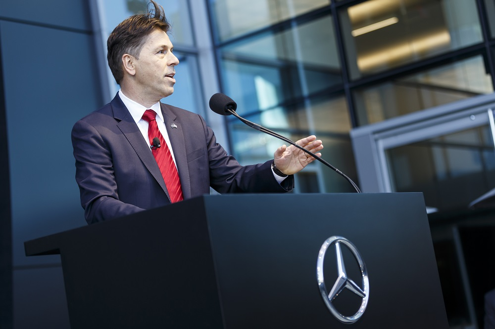Dietmar Exler, President And CEO At Mercedes Benz USA, Speaks During The  Opening