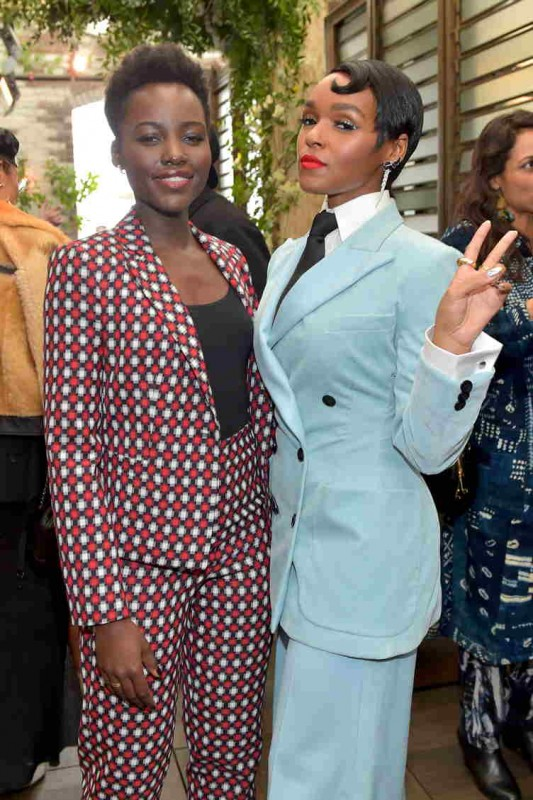 "Lupita Nyong'o and Janelle Monae pose as Janelle Monae and Belvedere Vodka kick-off ""A Beautiful Future"" Campaign with Fem the Future Brunch at Catch LA on March 2"