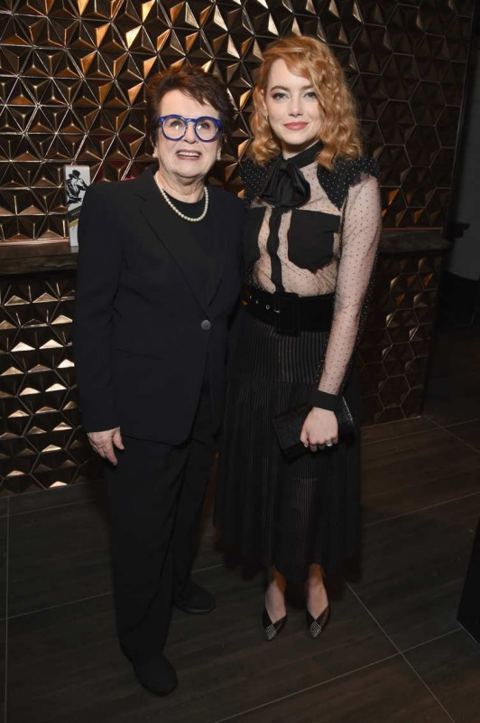 Billie Jean King (L) and Emma Stone celebrate with Jane Walker by Johnnie Walker at the 11th Annual Women In Film Pre-Oscar Cocktail Party at Crustacean on March 2