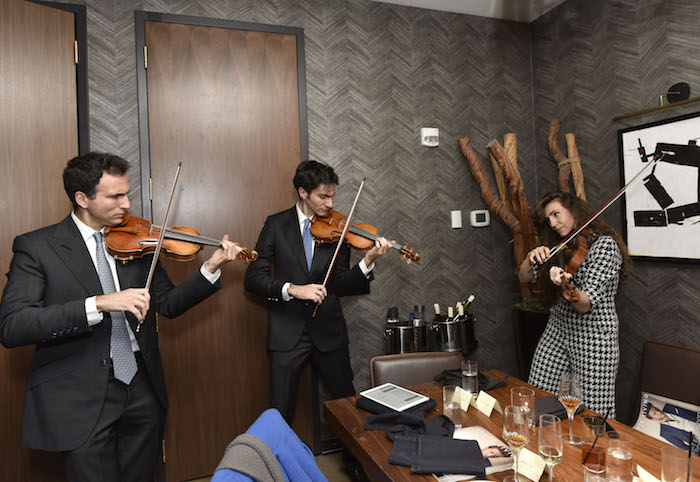 NEW YORK, NY - MARCH 19: Sean Carpenter, David Aaron Carpenter, and Lauren Carpenter perform at the Haute Living And Louis XIII Celebration of Scott Eastwood At Scarpetta NYC on March 19, 2018 in New York City.