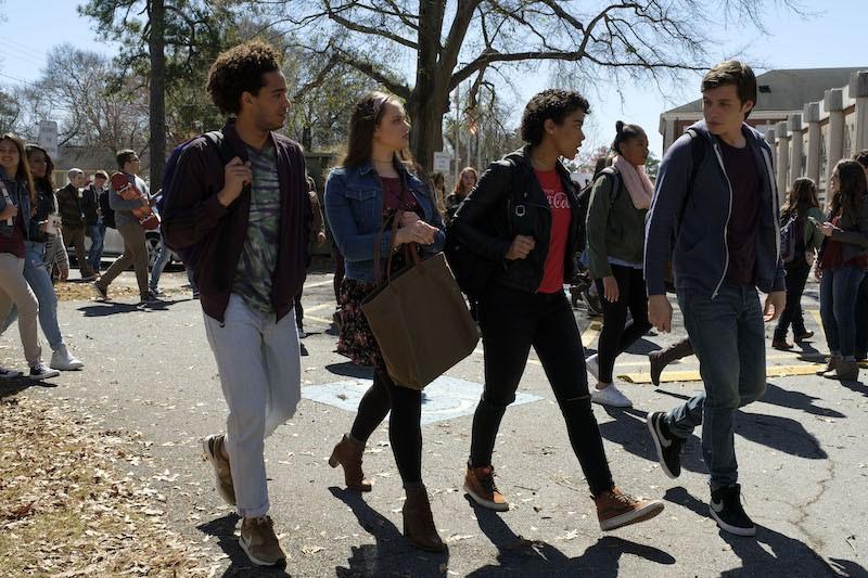 L-R: Jorge Lendeborg (Nick), Katherine Langford (Leah), Alexandra Shipp (Abby), and Nick Robinson (Simon) star in Twentieth Century Fox's LOVE, SIMON.