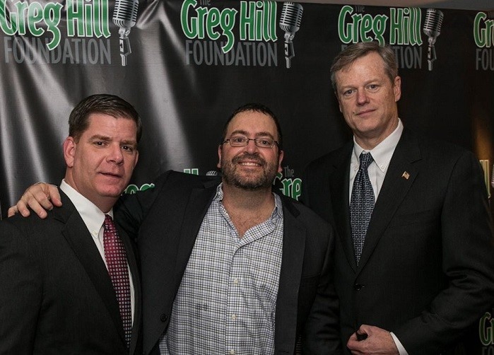 Mayor Marty Walsh, Greg Hill and Governor Charlie Baker